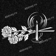 Цветы на памятник №Д116 (розы и свеча)