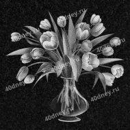 Цветы в вазе для гравировки №Д144