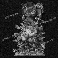 Цветы на памятник №Д152 (розы и крест)