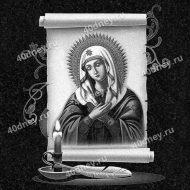 Изображение Богородицы со свечой и пером - гравировка №Д460