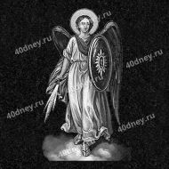 Гравировка ангела с мечом на памятник №Д464