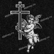 Ангелок с крестом - гравировка на памятник №Д468