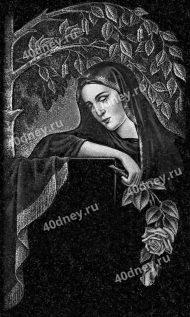 №Д716 - скорбящая женщина с цветами и берёзой на фоне