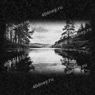 Пейзаж с озером и деревьями на памятник №Д278