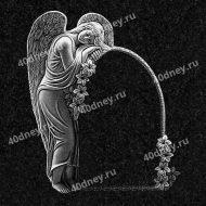 Гравировка рамки на памятник с ангелом №Д577