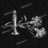 Свеча и две розы для гравировки №Д211