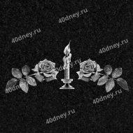 Свеча на памятник №Д217 (с розами по бокам)