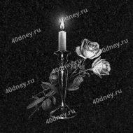 Свеча №Д221 с двумя розами для гравировки на памятник