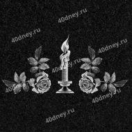 Горящая свеча и две розы №Д222
